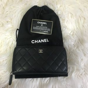 Authentic Chanel Lambskin Quilted Wallet
